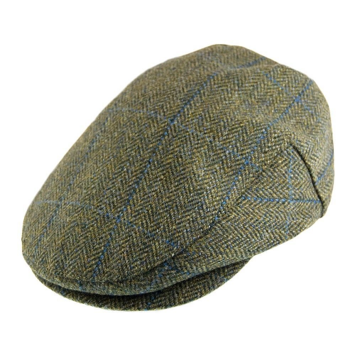 Failsworth Waterproof Tweed Flat Cap Sage/Blue